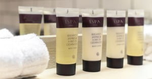 ESPA toiletries on a shelf in the Red Lion hotel en suites